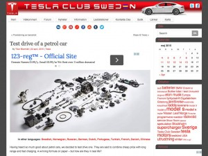 Screen capture of article on Tesla Club Sweden website
